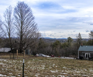 The Camden Hills can be seen from Briggs Farm in Somerville on Jan. 17. Corey and Alicia O'Connell bought the property because they found the acreage they wanted at an affordable price -- the view was a bonus. (Bisi Cameron Yee photo)