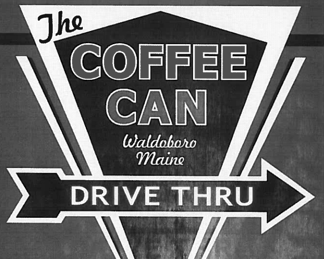 A logo for The Coffee Can, a drive-thru business proposed for Route 1 in Waldoboro.