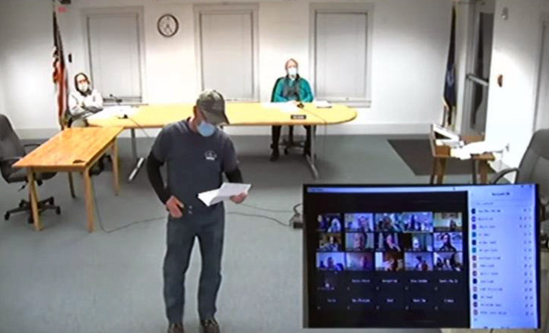Buddy Brown reviews cost estimates for improvements to Controversy Lane and roads off Controversy Lane during a Waldoboro Planning Board meeting Wednesday, Jan. 20. (Screenshot)