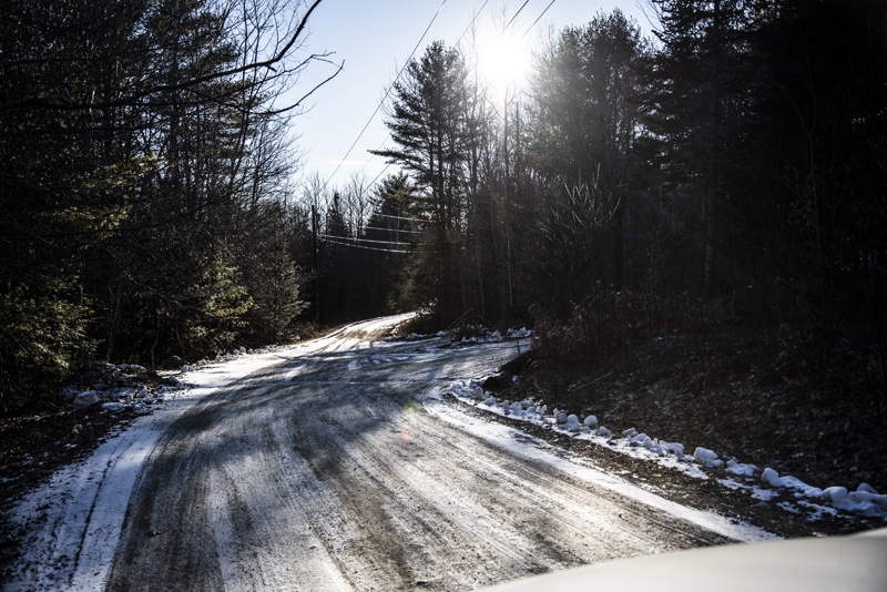 The intersection of Controversy Lane and Sunset Ridge in Waldoboro on Saturday, Jan. 23. The intersection is likely the point where the Syncarpha solar farm would route energy to Central Maine Power poles. (Bisi Cameron Yee photo)