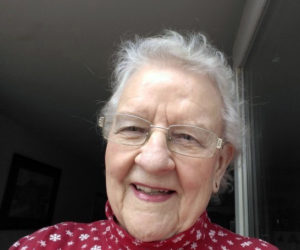 Janice Metcalf Fogg, a member of the Wiscasset Academy Class of 1950, made a New Year's resolution to call her 10 surviving classmates twice a month to keep in touch during the isolation of the COVID-19 pandemic. (Photo courtesy Sheila Miller)