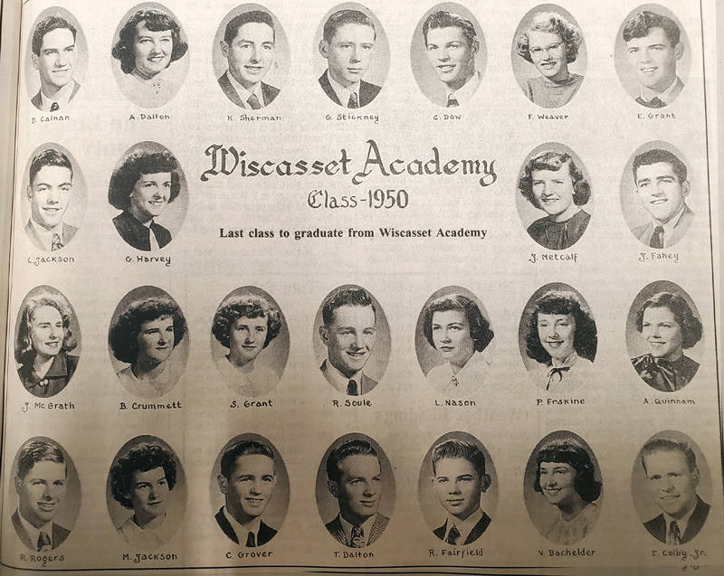 An advertisement in the June 1, 2020 edition of The Lincoln County News commemorates the 50th anniversary of the Wiscasset Academy Class of 1950.