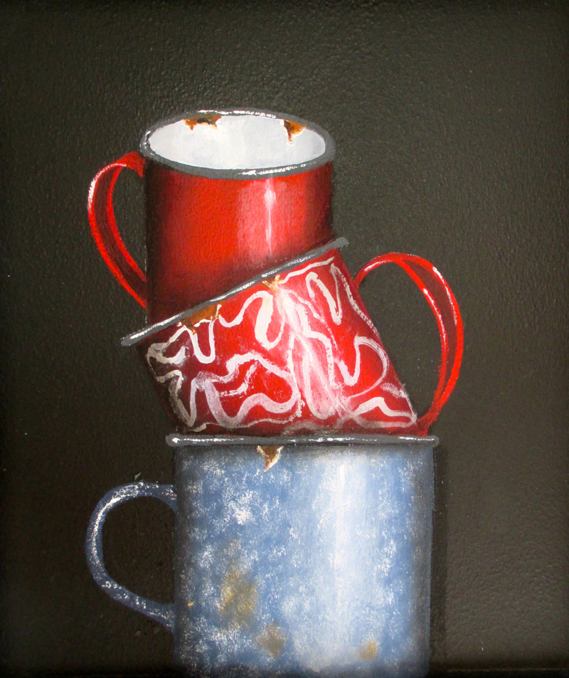 """""""Enamelware Mugs"""" by Peggy Farrell."""