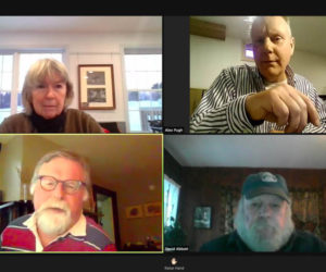 Clockwise from upper left: Alna Board of Appeals members Mary Bowers, Alex Pugh, David Abbott, and David Buczkowski discuss three appeals regarding a boat ramp on the Sheepscot River during a Zoom meeting Thursday, Feb. 11. (Screenshot)