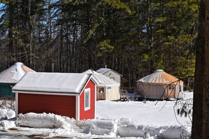A series of yurts serve as classrooms at the Juniper Hill School for Place-based Education in Alna. (Hailey Bryant photo)