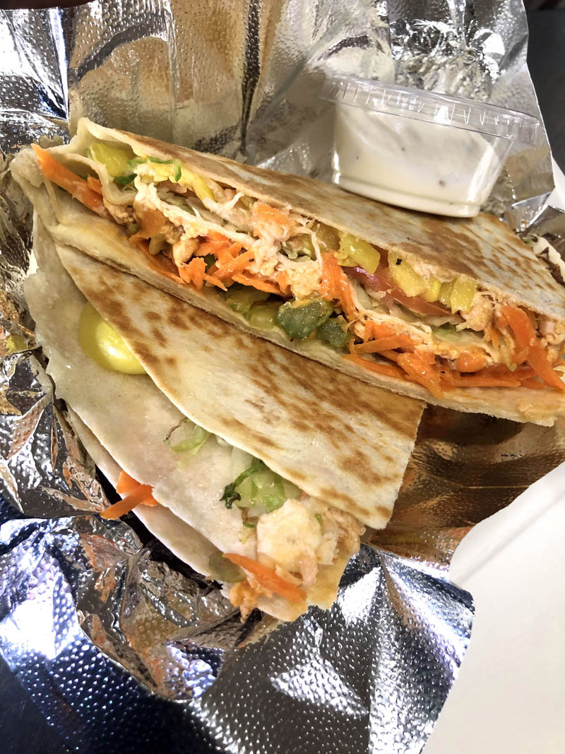 The Buffalo Chicken TikTok Wrap Hack, this week's special at S. Fernald's Country Store in Damariscotta. (Photo courtesy Moira Rose Richards)