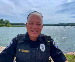 Officer Phil Tessier on the Damariscotta waterfront. (Photo courtesy Phil Tessier)