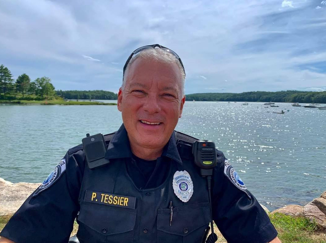 Officer Phil Tessier on the Damariscotta waterfront. (Photo courtesy Phil Tessier)