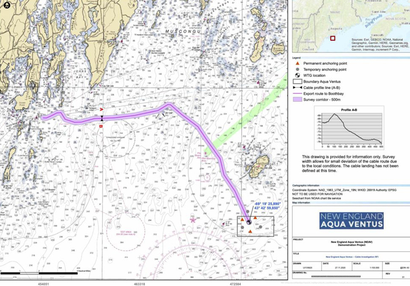 A map from the New England Aqua Ventus website shows the route of a seabed survey that will take place from March 8 through April 4, studying the potential route of an undersea cable from the New England Aqua Ventus I wind turbine to the mainland. (Screenshot)