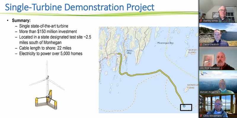 Dustin McEachern, of Diamond Offshore Wind, presents a map showing a possible route for the undersea cable from the New England Aqua Ventus I wind turbine off Monhegan to the Boothbay region during a Zoom meeting Feb. 3. (Screenshot)