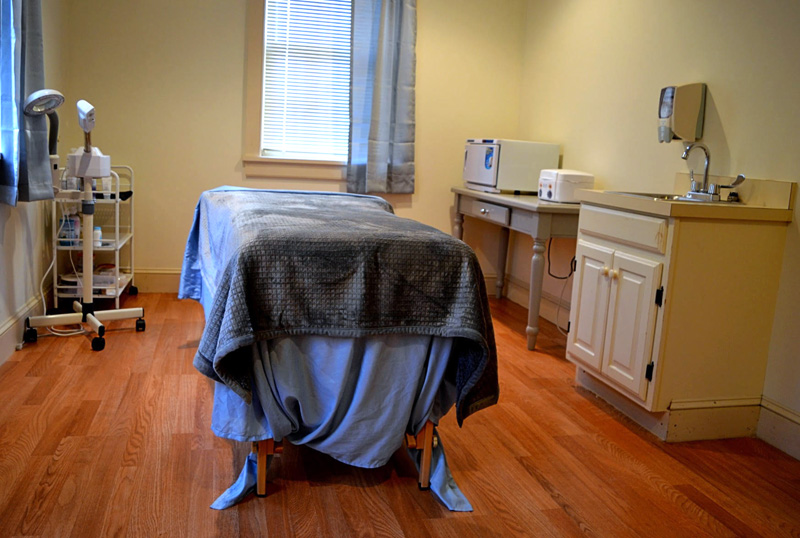 Skin Sensations occupies a former eye exam room at 71 Main St. in Newcastle. (Nettie Hoagland photo)