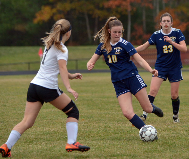 Abby Lash plays in a home game against Lincoln Academy on Oct. 20, 2020. Lash scored all three Medomak Valley goals in the win. (Paula Roberts photo, LCN file)