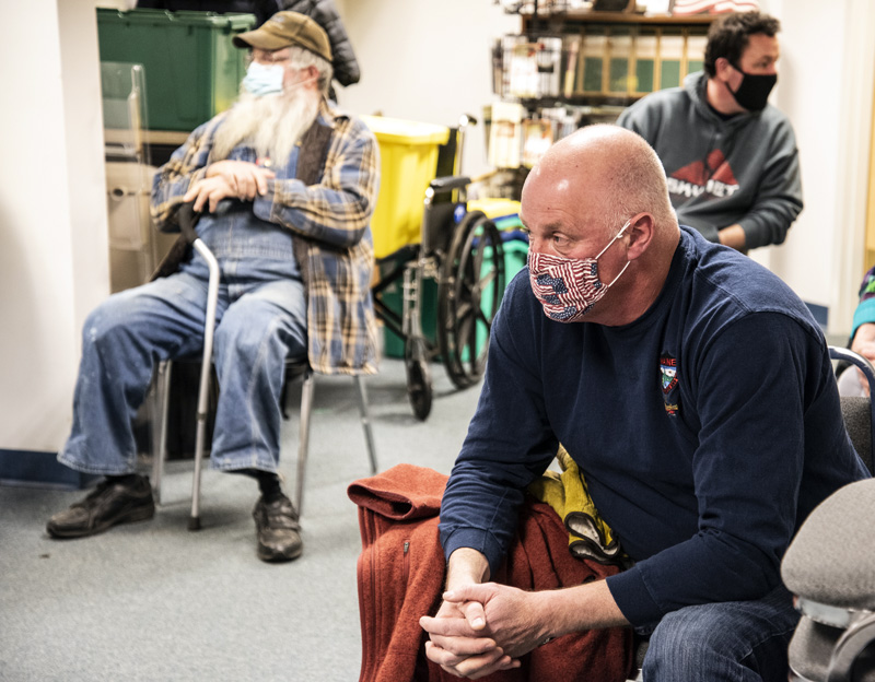 Former A.D. Gray School Principal Ben Vail attends a selectmen's meeting in Waldoboro on Tuesday, Feb. 23. Vail supports a proposal to convert the vacant school into senior housing. (Bisi Cameron Yee photo)