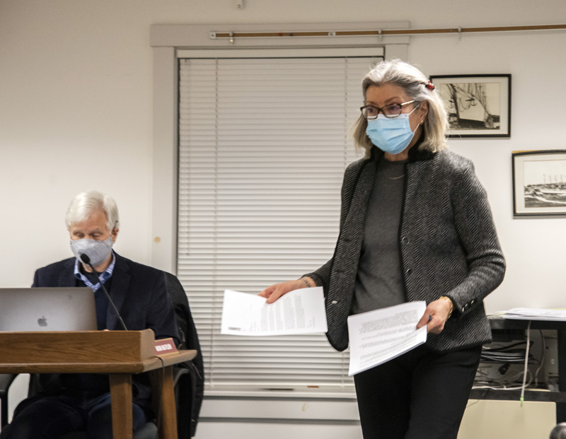 Surran Pyne, representative of the A.D. Gray Park Coalition, passes out information on the coalition's proposal during a selectmen's meeting in Waldoboro on Tuesday, Feb. 23. (Bisi Cameron Yee photo)