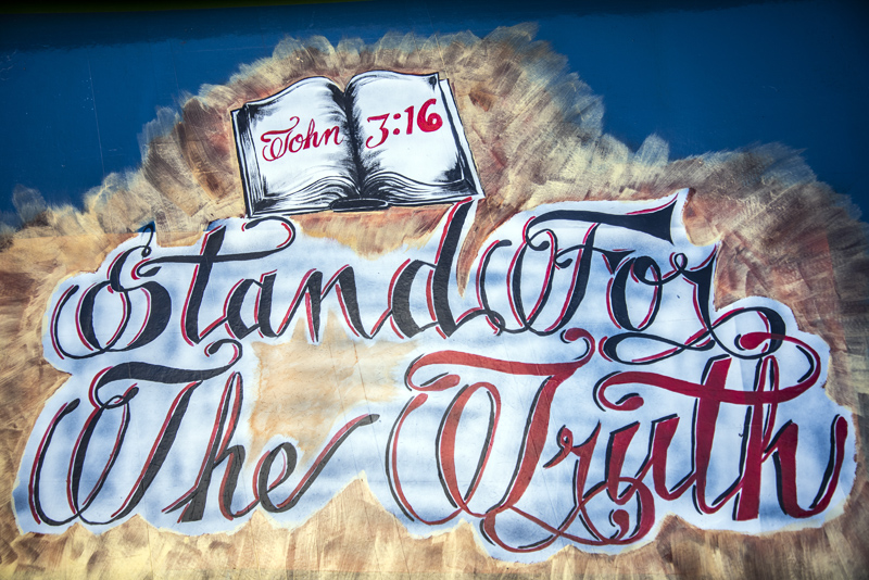 "Joe Guerrero's motto, ""stand for the truth,"" on the family's bus in Waldoboro. Guerrero named his ministry based on these words. (Bisi Cameron Yee photo)"
