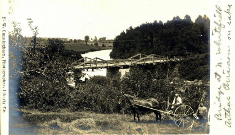 """An F.W. Cunningham photo of a bridge at North Whitefield from David Chase's """"Bridges of Whitefield, Maine"""" album."""