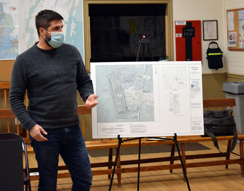 Chris Byers, of Boyle Associates, presents a plan for a 12-acre solar array across Bristol Road from the Bristol-South Bristol Transfer Station to the Bristol Planning Board on Thursday, March 4. (Evan Houk photo)