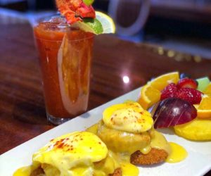 Crabcake eggs Benedict, a brunch special at King Eider's Pub in Damariscotta. The pub substitutes potato pancakes for the traditional English muffins. (Photo courtesy Jed Weiss)