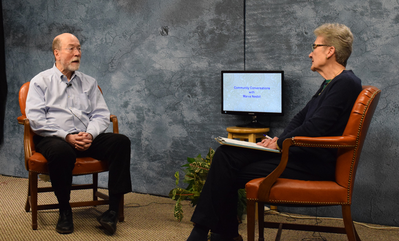 "Retiring LincolnHealth President Jim Donovan talks with with ""Community Conversations"" host Marva Nesbit during the filming of a special one-hour episode at Lincoln County Television in Newcastle on Monday, March 22. (Evan Houk photo)"