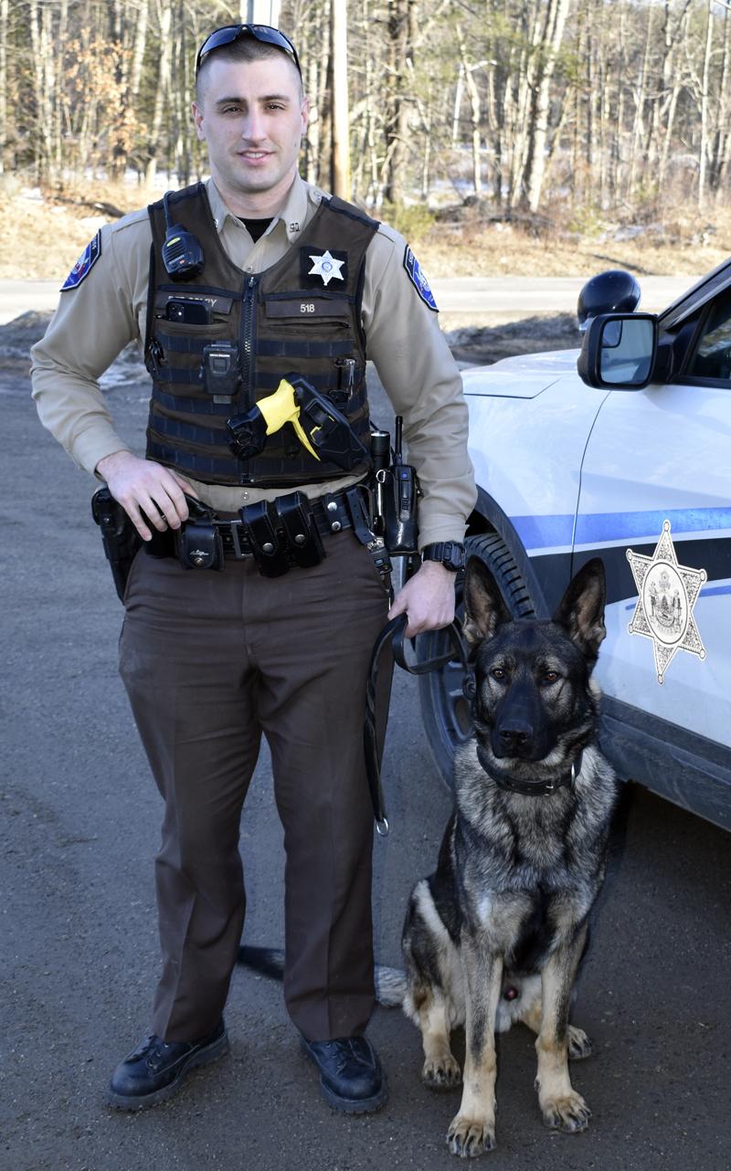 Lincoln County Sheriff's Deputy Jonathan Colby with his K-9 partner, Bear. The team earned their patrol certification Feb. 1. (J.W. Oliver photo)