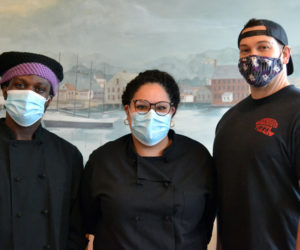 The new kitchen leadership at Newcastle Publick House. From left: Joshua Urey and Trish Almodovar, head chefs and kitchen managers; and Nick Krunkkala, executive chef and general manager for Newcastle Publick House and Oysterhead Pizza Co. (Maia Zewert photo)