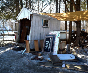The remains of the farm stand at Swallowtail Farm and Creamery in Coopers Mills after vandalism late Wednesday, Feb. 24. (Hailey Bryant photo)