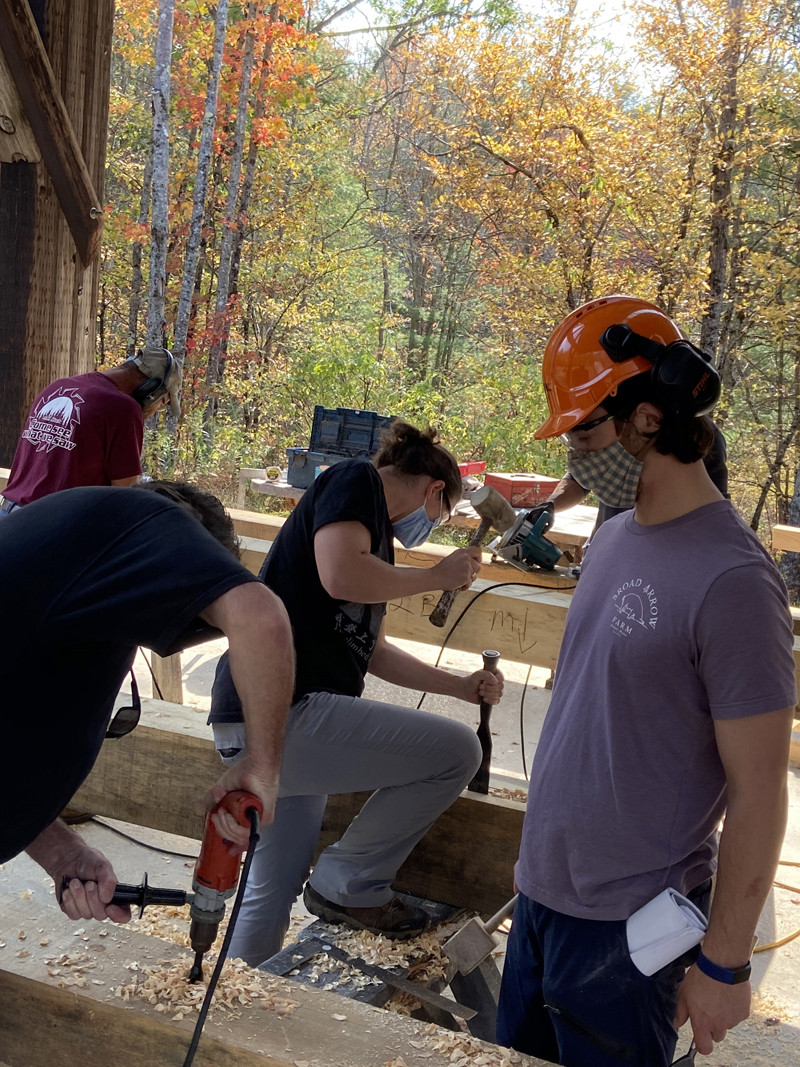 Participants busy at work at a previous timber frame course.