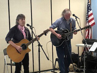 Sylvia Tavares and John Couch at a open mic in Damariscotta. (Photo courtesy Marianne Pinkham)