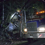 Crash Leaves Truck Trapped in Trees in Pemaquid
