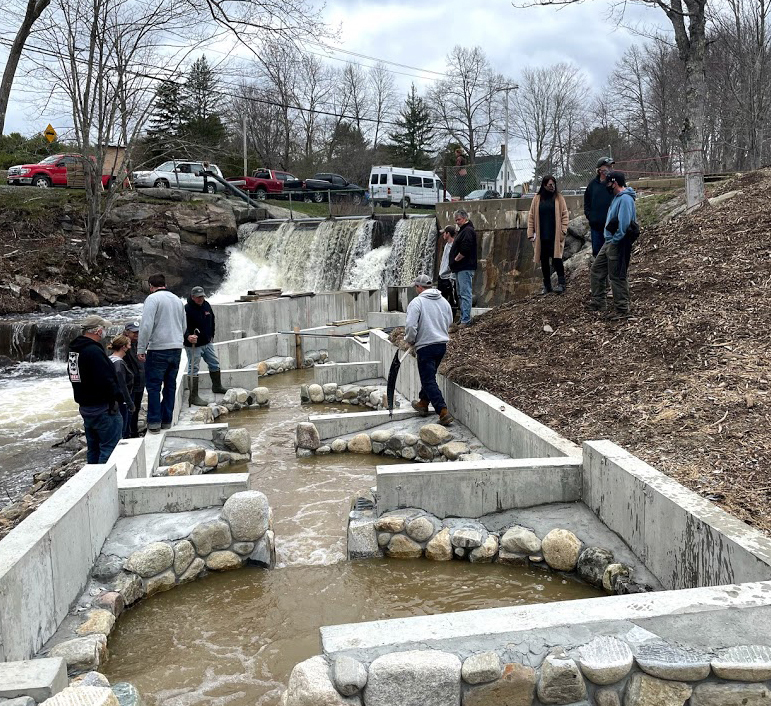 A small crowd watches water from the Pemaquid River flow through the new Bristol Mills fish ladder for the first time on Sunday, April 18. The Bristol Fish Committee will adjust water levels and flows in the coming weeks in preparation for the alewife run. (Evan Houk photo)