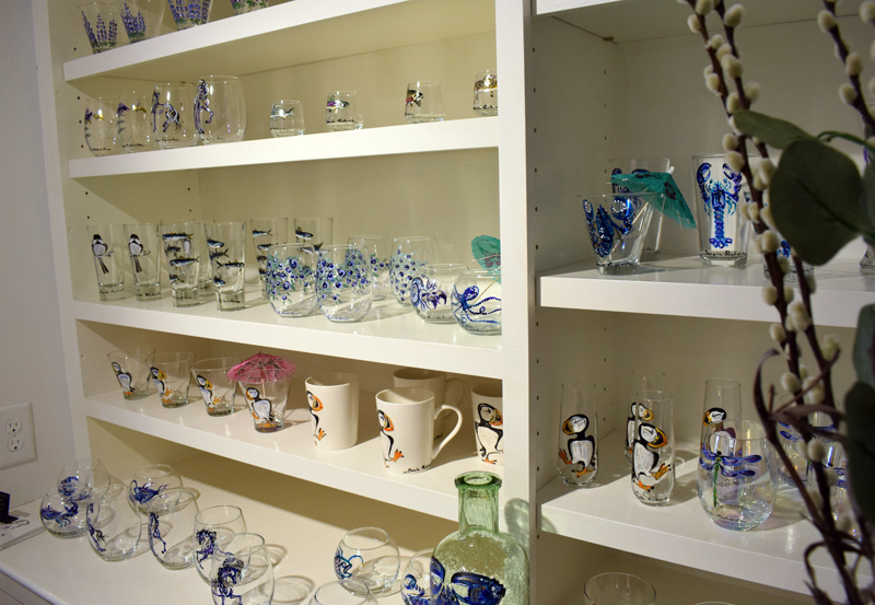 An array of hand-painted glassware is displayed at the new Sarah Richards Gallery in Damariscotta on Saturday, April 3. (Evan Houk photo)