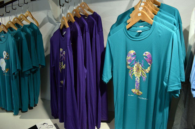 The new Sarah Richards Gallery in Damariscotta sells apparel with Richards' work printed on it. The gallery is open from 10 a.m. to 5 p.m. Tuesday-Saturday. (Evan Houk photo)
