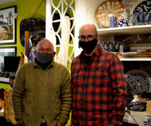 Citizen Maine co-owners Danny Cain (left) and Don Bostick at their new shop in downtown Damariscotta. (Nettie Hoagland photo)