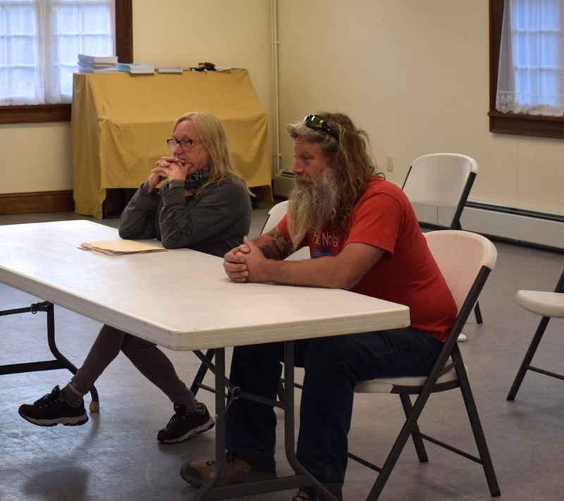 Kathy and Mason Dubord, owners of Dresden Take Out, discuss their plans to open an ice cream shop next to their business with the Dresden Planning Board on Monday, April 19. (Evan Houk photo)