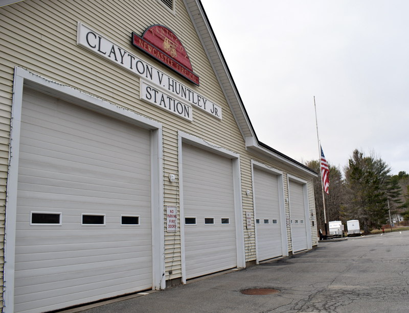 The newly named Clayton V. Huntley Jr. Station on River Road in Newcastle, Wednesday, April 7. Huntley died Monday, April 5 and the Newcastle selectmen renamed the station in his honor Tuesday, April 6. (Evan Houk photo)