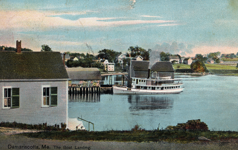 The passenger steamer Newcastle tied up at Cottrell's Wharf. (Postcard courtesy Calvin Dodge)