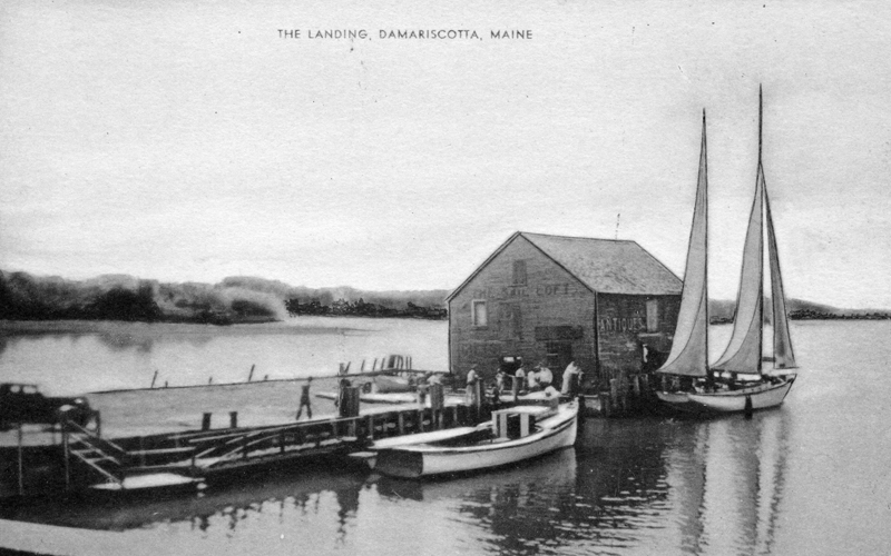 A sailboat and fishing boat at Cottrell's Wharf in 1930. (Postcard courtesy Calvin Dodge)