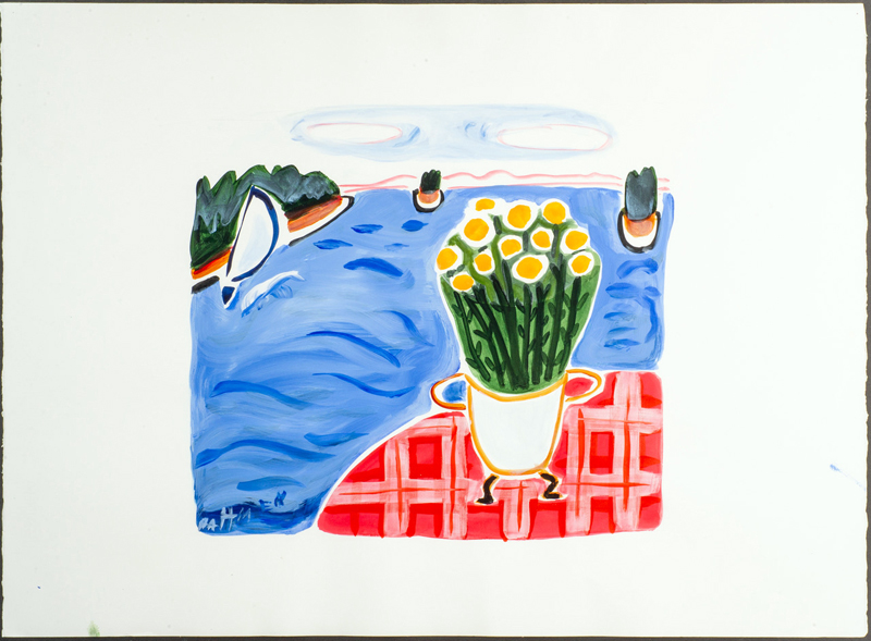 This acrylic on paper by Jane Dahmen is among the works of art in the Maine Art Gallery online auction.