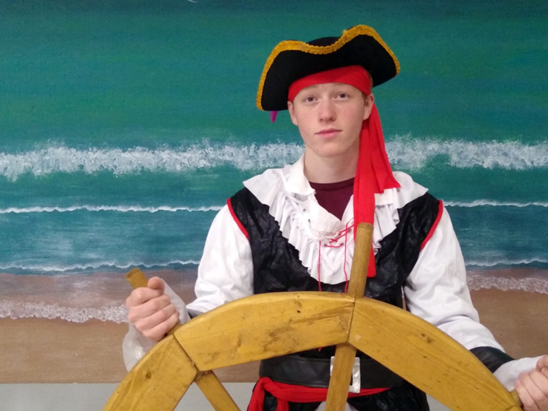 """Caleb Frechette, a junior at Coastal Christian School, plays Percy the Pirate Prince in """"The Pirate King."""""""