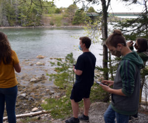 """Students in Great Salt Bay Community School's gifted-and-talented program take pictures and examine a """"tour stop"""" with the STEMports augmented reality app during a field test Wednesday, May 12. (Evan Houk photo)"""