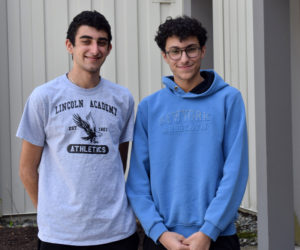 Lebanese students Ralph (left) and Marc Zoorob stand outside their dorm at Lincoln Academy in Newcastle on Thursday, May 6. Sons of the archdeacon of Lebanon and Syria in the Episcopal Church in Jerusalem, they are attending LA with assistance from the Episcopal Diocese of Maine. (Evan Houk photo)