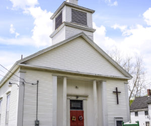 Blue skies frame the Waldoboro United Methodist Church on Tuesday, May 18. Built in 1857, the church has been a place of worship for residents and town leaders for 164 years. (Bisi Cameron Yee photo)