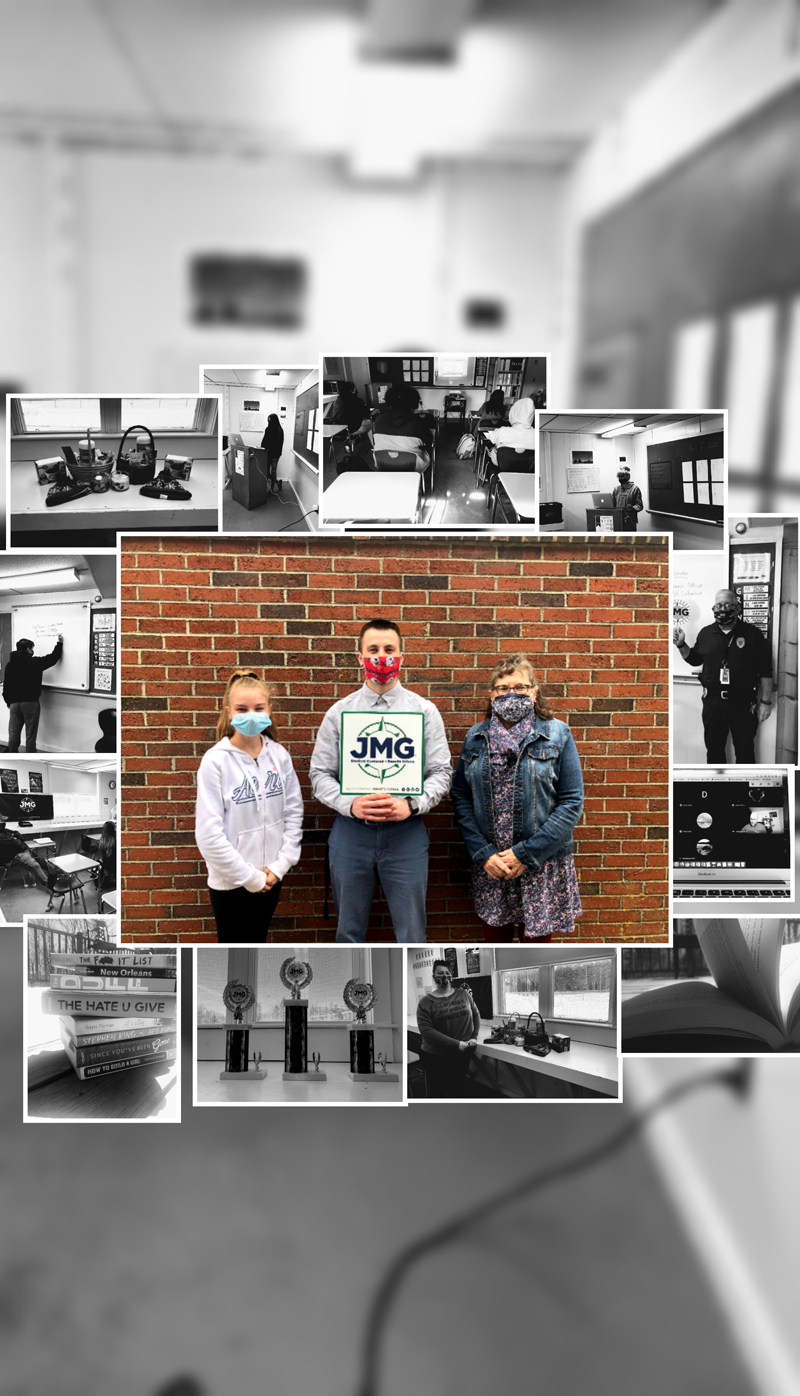 The prize-winning photo collage from students in the Jobs for Maine Graduates program at Medomak Valley High School includes a blurred background image of a classroom with a series of black-and-white photos around a central image. The central photo shows three generations of people involved in the program, from left: freshman Alyssa Ciasullo, program specialist Ryan Rice, and Principal Linda Pease. (Photo courtesy Ryan Rice)
