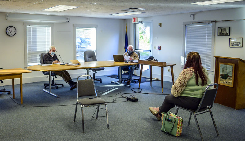 Rachel Lane requests a variance from the Waldoboro Board of Appeals on May 4. Lane represented her mother-in-law, Viola Stone, who watched the proceedings remotely. (Bisi Cameron Yee photo)