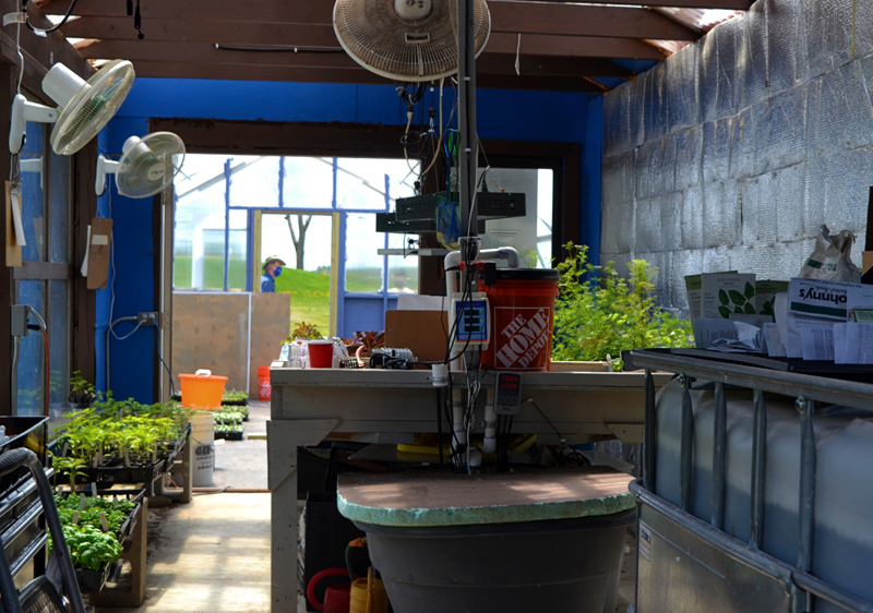 A greenhouse at Whitefield Elementary School houses the school's aquaponics system. (Nettie Hoagland photo)