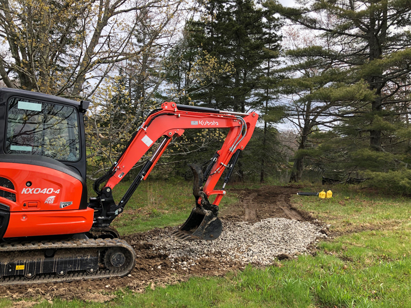 During trail construction at Oak Point Farm in Boothbay Harbor, there may be temporary disruptions to access of the pond loop. Other trails, including the established universal access trail, will remain open.