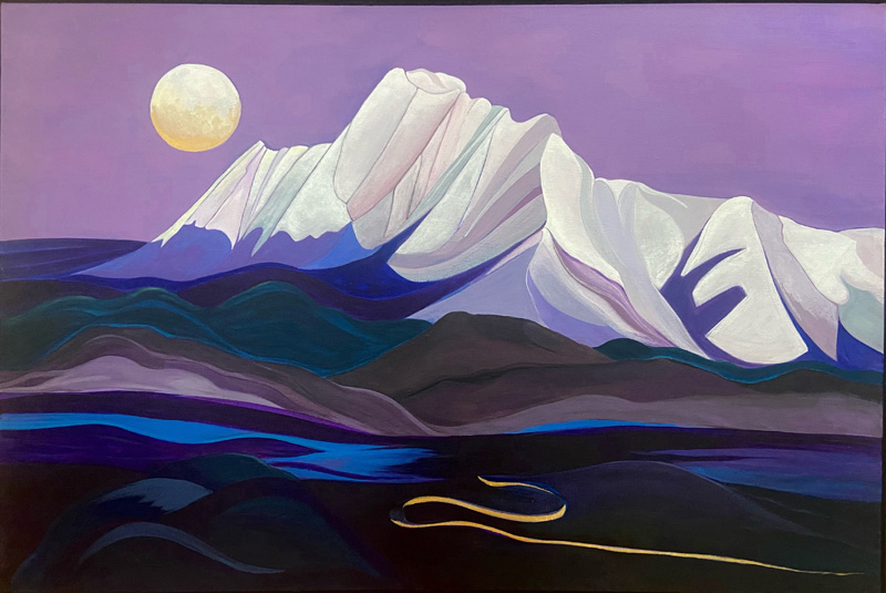 Mount Katahdin was the inspiration for a painting by Ammi Bai Chung. The painting is a part of the Maine Art Gallery's members' show.