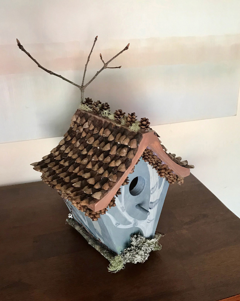 A birdhouse decorated by Daisy Greene will be available to bid on during a silent auction at Maine Art Gallery on May 15.