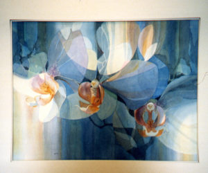 A painting of orchids by Joy Shott.