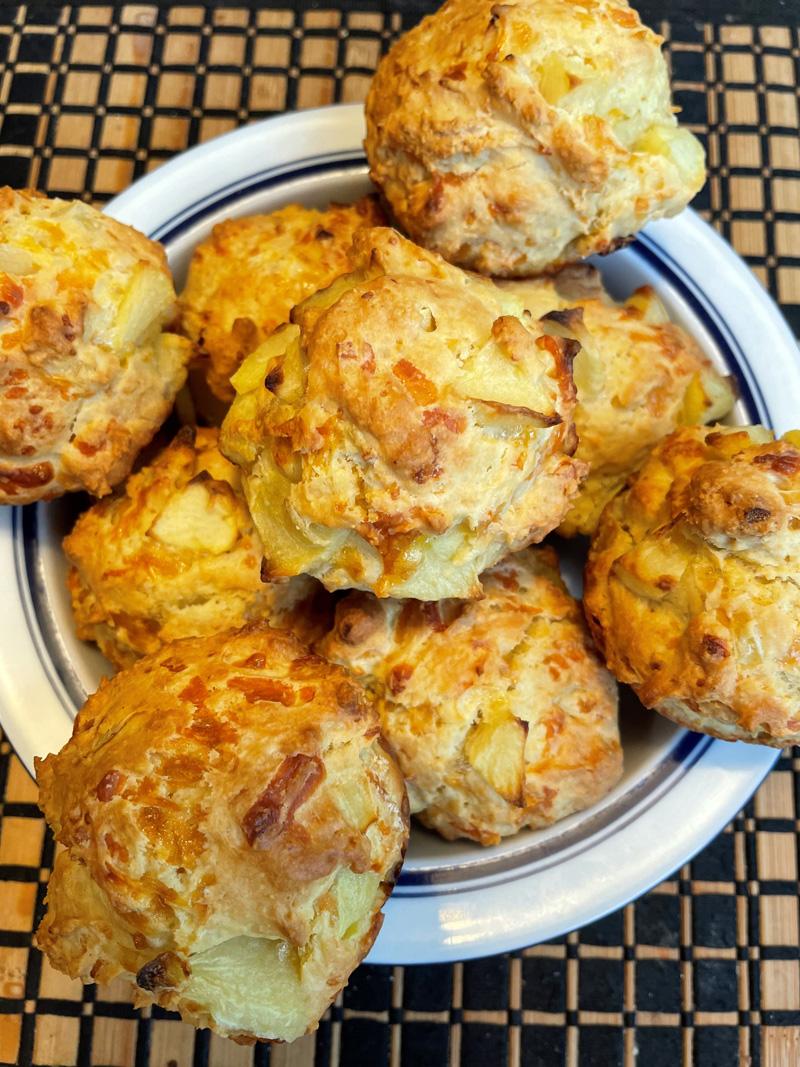 Apple-cheddar muffins.